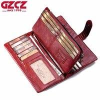 GZCZ Genuine Leather Women Wallet Female Long Walet Women Lady Clutch Money Bag Coin Purse Portomonee