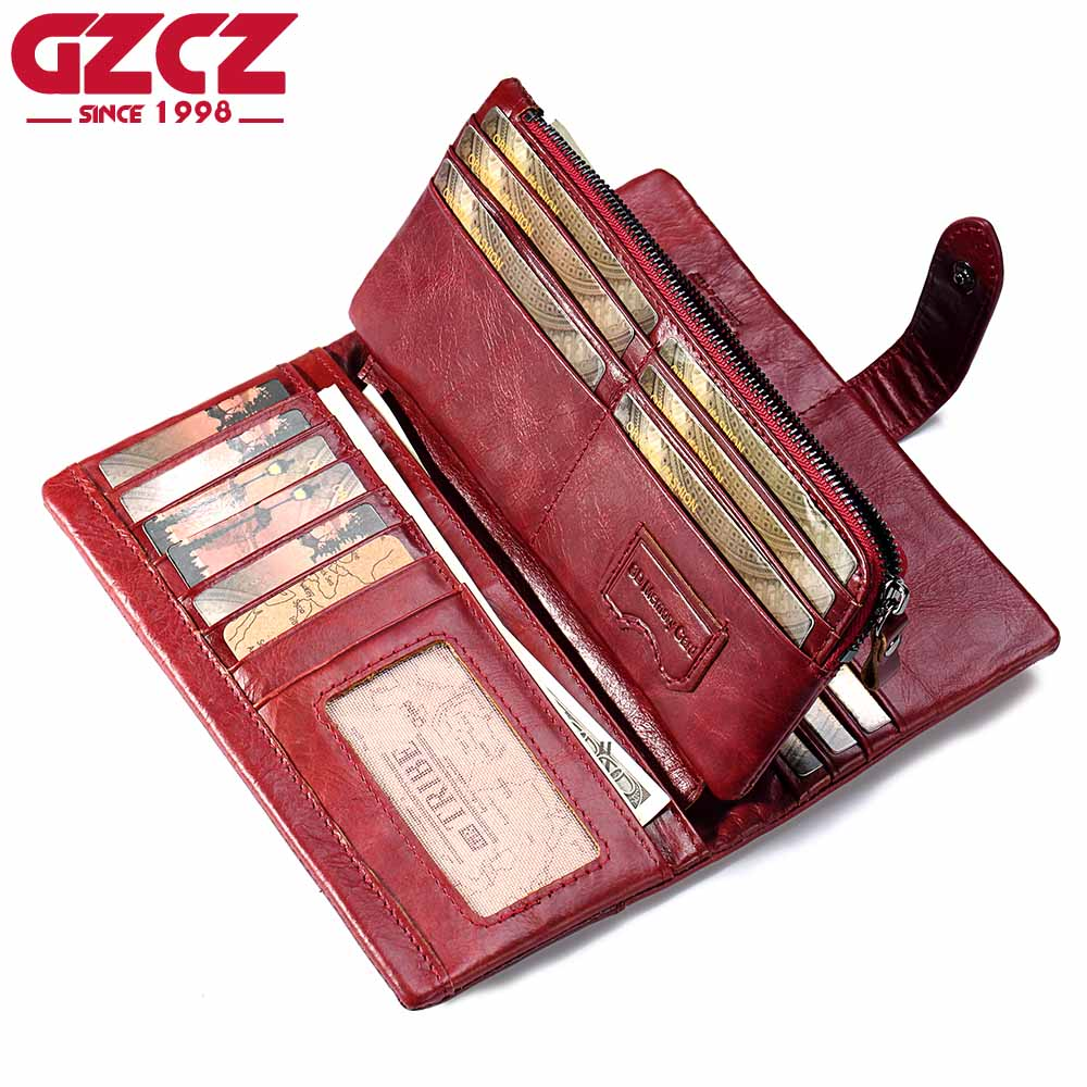 где купить GZCZ Genuine Leather Women Wallet Female Long Walet Women Lady Clutch Money Bag Coin Purse Portomonee Handy Small Mini Vallet дешево