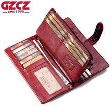 ddbdc9cf545 GZCZ Genuine Leather Women Wallet Female Long Walet Women Lady Clutch Money  Bag Coin Purse Portomonee