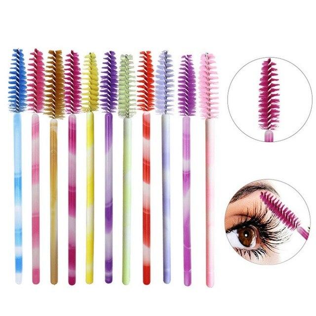 50 piezas Mini desechable pestañas maquillaje cepillo de pestañas peine pestañas Curl varita aplicador de herramientas de belleza herramienta de maquillaje