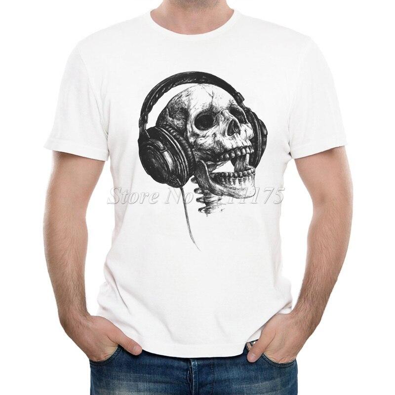 Os Recém-chegados 2019 masculina Engraçado Da Música Cabeça Do Crânio Impresso T Camisa Topos de Verão Fresco de Alta Qualidade Casual Tee