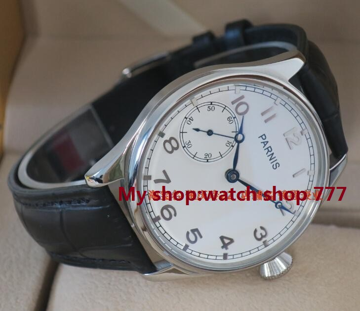 44MM PARNIS ST3600 /6497 Mechanical Hand Wind goose neck movement mechanical watches men's watch white dial wholesale parnis white dial st3600 goose neck movement hand chain mechanical men s watch wholesale