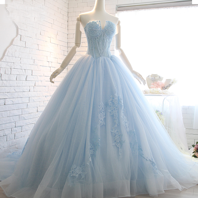 Real image strapless light blue wedding gown top appliques for Wedding dresses with lace up back