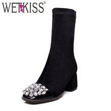 WETKISS 2017 New Fashion Cow Leather Women Boots Autumn Ankle boots Square toe Sexy Rhinestone Lady Shoes Woman Over Knee Boots
