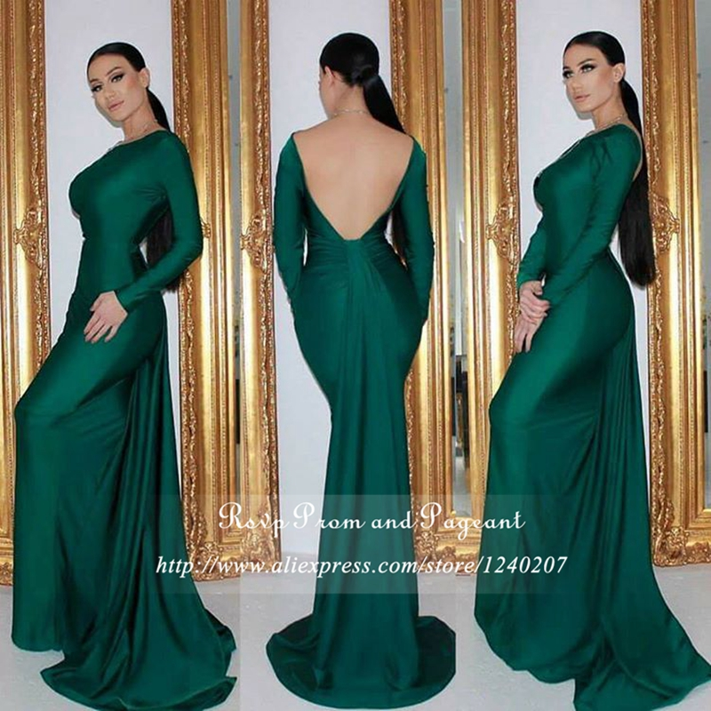 Sexy Backless Emerald Green Prom Dress Boat Neck Open Back Floor Length Gowns Long Sleeve Mermaid