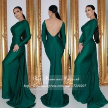 Sexy Backless Emerald Green Prom Dress Boat Neck Open Back Floor Length Gowns Long Sleeve Mermaid Prom Dresses 2017