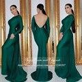 Sexy backless verde esmeralda prom dress boat neck as costas abertas até o chão vestidos de manga longa sereia vestidos de baile 2017