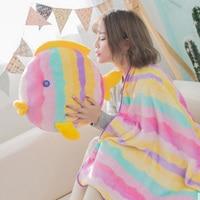 45x40cm Fish Shape Cushion Blanket Plush Soft Cartoon Cute Pillow Dual Use Office Sleeping Blanket Chair Seat Cushion Almofada