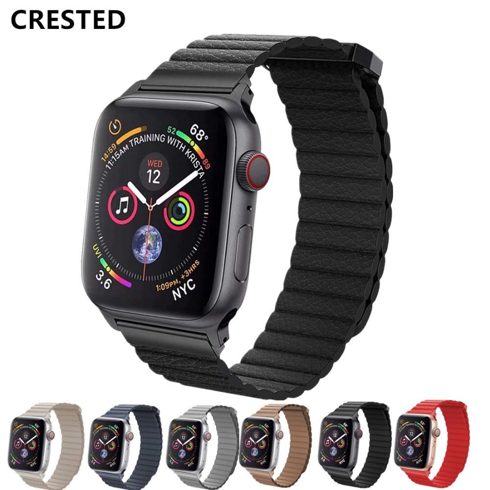 CRESTED Leather Loop strap For apple watch band 4 42mm 38mm 3 iWatch band 44mm 40mm correa bracelet wrist watch Accessories 2/1CRESTED Leather Loop strap For apple watch band 4 42mm 38mm 3 iWatch band 44mm 40mm correa bracelet wrist watch Accessories 2/1