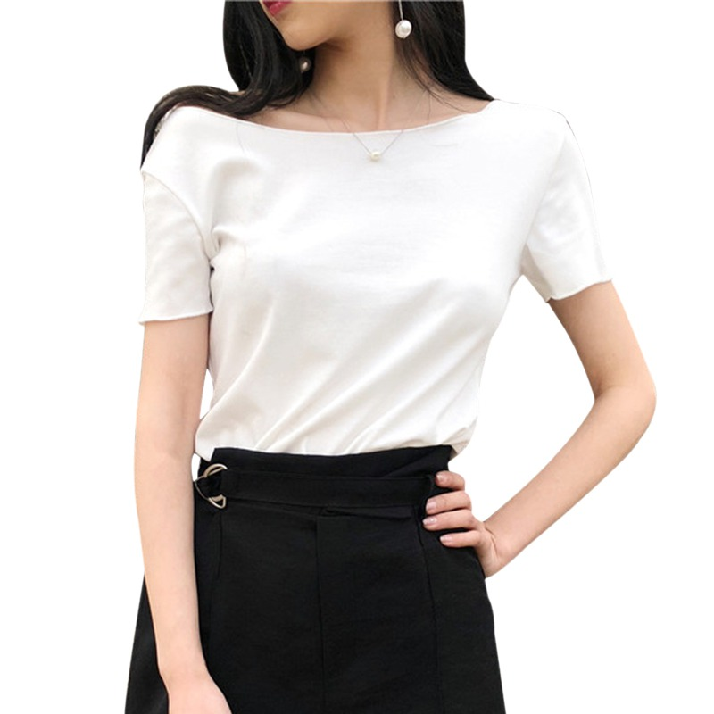 Women Slim T Shirt Sexy Back Lace Up Bow Shirt Women Slash