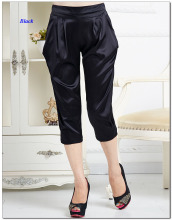 Elastic pure silk satin female casual harem pants,new arrival elastic silk satin women loose capris pants