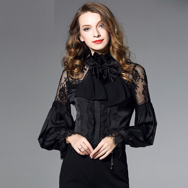 black floral silk lace office blouse womens tops and blouses 2019 elegant vintage sexy boho long sleeve plus size palace style