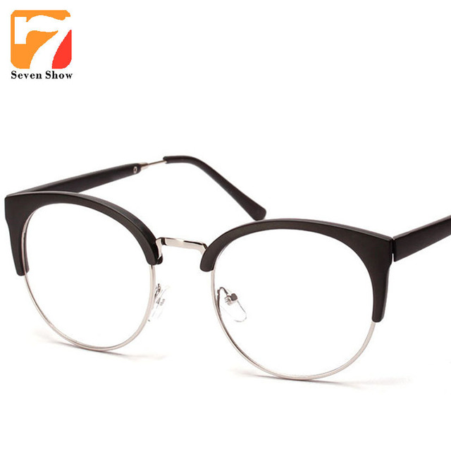 16c3cd3877 Eyeglasses Cat Eye Glasses Frames Men Women Vintage Half Frame Myopia Clear  Lens Glasses Female Retro