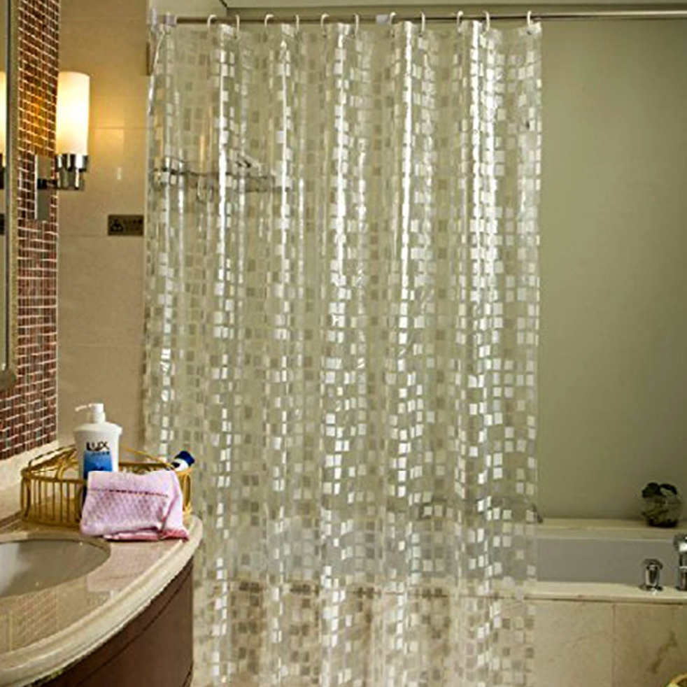 UFRIDAY Glitter Cube Pattern Shower Curtain Waterproof Mildewproof PVC Bath Modern Sparkling Mosaics Bathroom Curtains In From Home