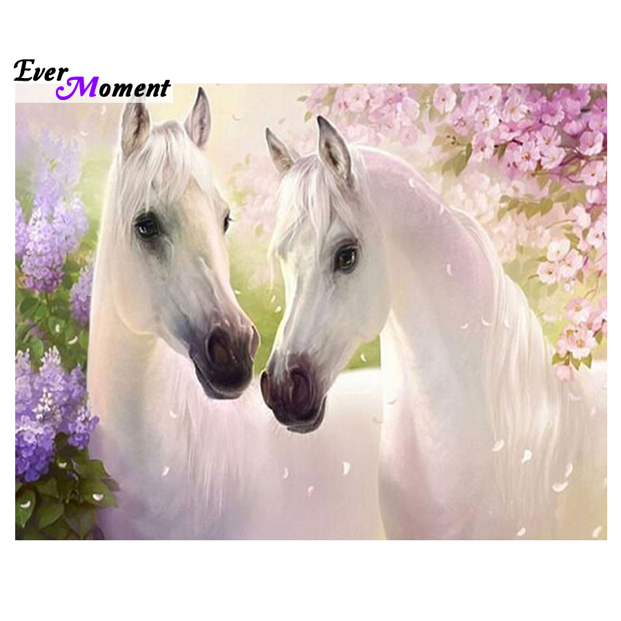 Dua kuda putih Penuh bor berlian bordir 3d berlian cross stitch mode  berlian mosaik gambar rhinestones ASF326 a2ac7311f9