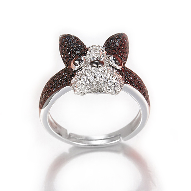 Fashion S925 Sterling Silver Micro-inlaid Zircon Bull Dog Puppy Ring For Women Gift Cubic Zircon Ring Jewelry Accessories Bijoux stylish zircon inlaid hollow ring for women