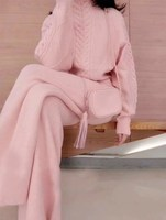 Spring Winter Women 2 Two Piece Set Tracksuit Sweater Top Pants Knitted Suit Casual O Neck Twist Outwear