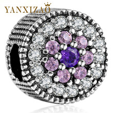 Yanxizao 2018 Silver 925 CZ Beads Fit Pandora Purple Crystals Love Shape Luxurious Stylish Bracelet DIY Jewelry Originals GW240
