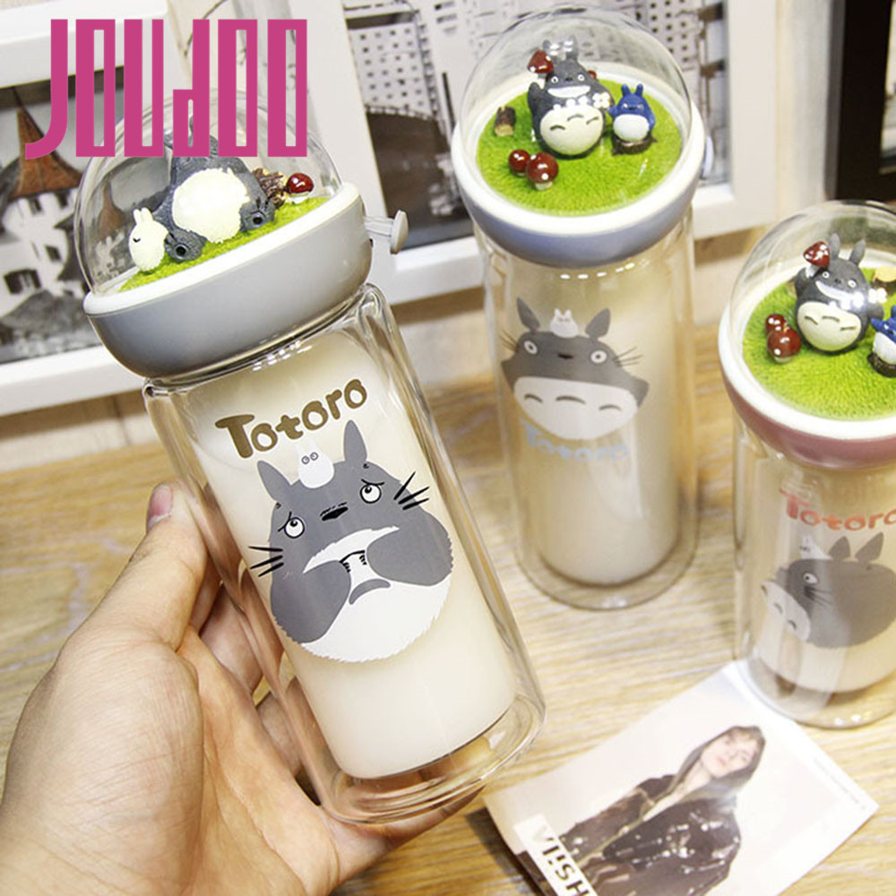 JOUDOO de Bande Dessinée Totoro Bouteille D'eau Thé Au Lait Café Fuite Preuve Double Couche Bouteille En Verre En Plein Air Portable Potable Avec Corde