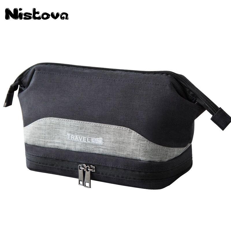 Waterproof Large Men Toiletry Bag Double Layer Travel Organizer Cosmetic Bag For Women Necessaries Make Up Case Wash Makeup Bag цена