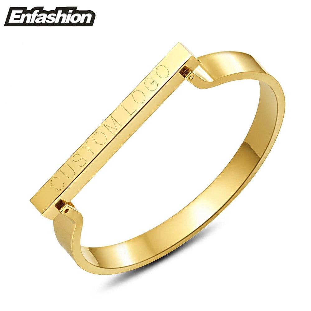 eb19a2d8851c Enfashion Personalizada Nombre Grabado Personalizado Barra Plana Brazalete  Pulsera Brazalete De Color Oro Pulseras Para Las