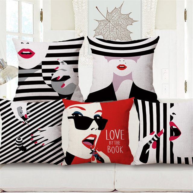 Modern Pop Art Fashion Decorative Throw Pillows Covers Red For Couch Vintage  Style Dining Chair Cushions