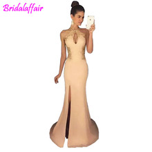 2018 sexy long prom dresses mermaid African princess side split sleeveless formal evening wear gowns with lace