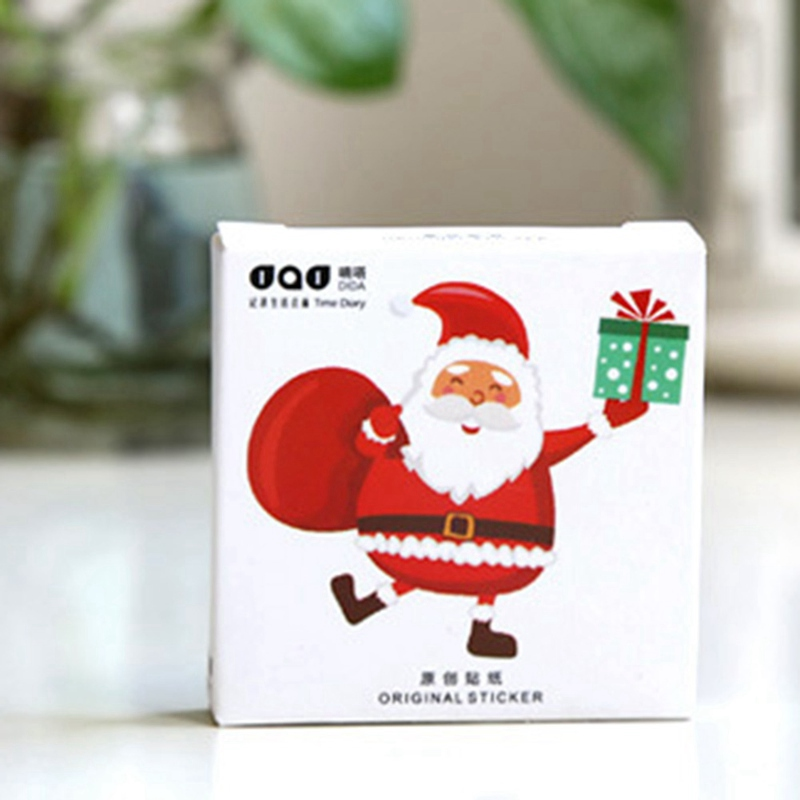 48 PCS/box!!! 2018 New Santa Claus Album Paper Lable Stickers Crafts And Scrapbooking Decorative Sticker Cute Stationery fat santa claus pattern door cover stickers