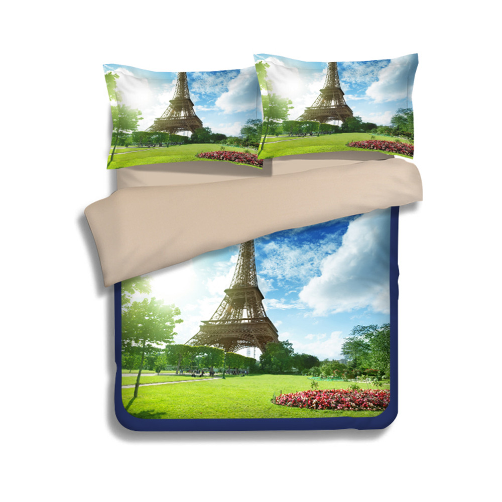 yeekin blue skye green grass eiffel tower design bedding sheet  - yeekin blue skye green grass eiffel tower design bedding sheet kingsize polyester d eiffel tower twin size fitted sheet in bedding setsfrom home