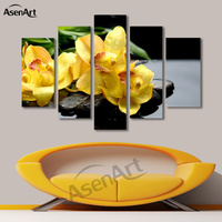 5 Panel Wall Art Phalaenopsis Yellow Flower Pictures Wall Paintings for Living Room Modern Home Decor No Frame