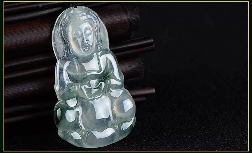 Natural myanmar stone material A cargo guanyin pendant necklace men's large piece certificate jewelry box