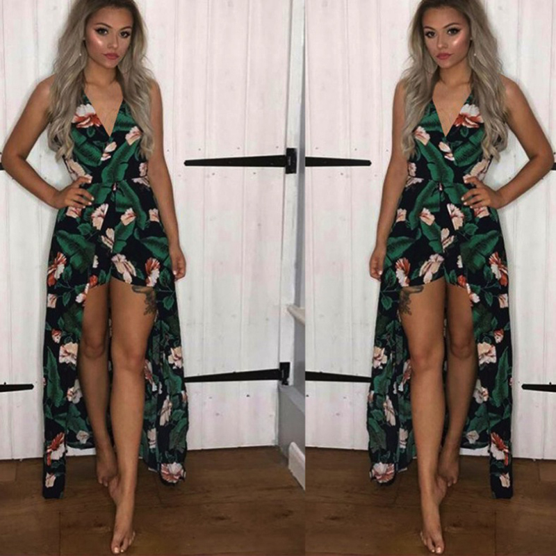 Summer Vacation 2018 Spaghetti Strap High Waist Tropical Palm print Shirred loose fit Cami Palazzo Women Jumpsuit sexy v neck
