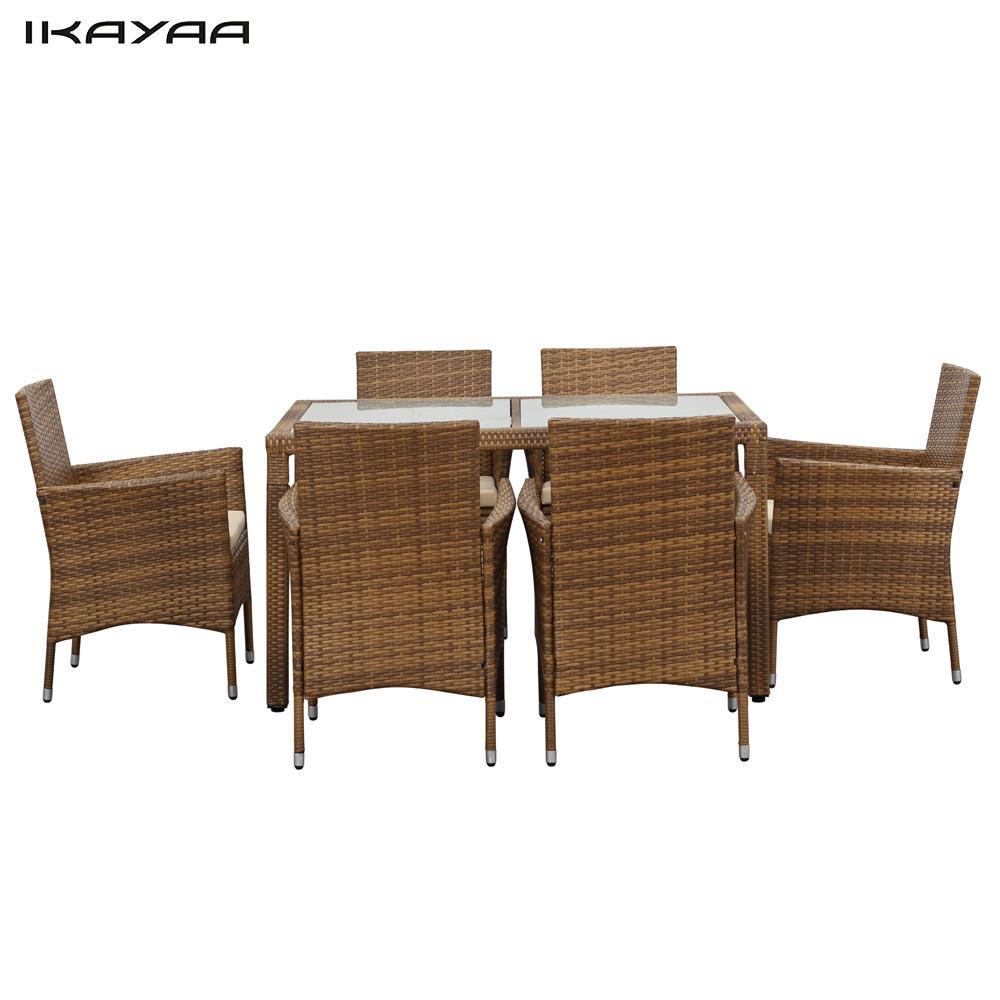 Ikayaa Fr Stock 7 Unids Patio Muebles De Rat N Conjunto De Muebles  # Muebles De Jardin Wicker