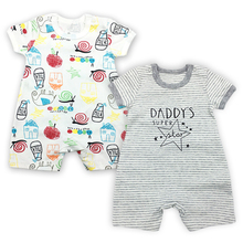 2 Pack Baby Clothes Babies Boys Romper Newborn Overalls Toddler Jumpsuit 3-24 Months Summer Short Sleeve Infant Girls Coveralls