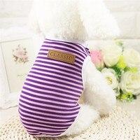 Весна/Лето Классические собака жилет футболка в полоску Рубашка с рисунком «Собаки» XS-XXL Pet Одежда для собак кошек щенок одежда оптом noJA4