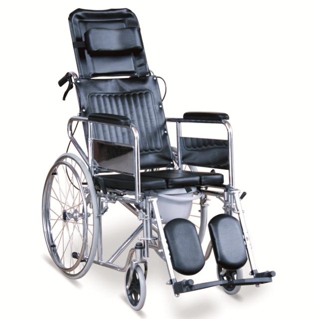 Cómoda silla de Ruedas reclinable Con U Panel de Asiento, apoyabrazos desmontables and elevating reposapiés desmontable