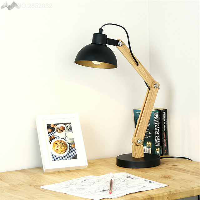 JW American Country Wood Wrought Iron Rotatable Table Lamp Wood Art Fold  Table Lamp For Bedroom Light Study Lighting Decoration