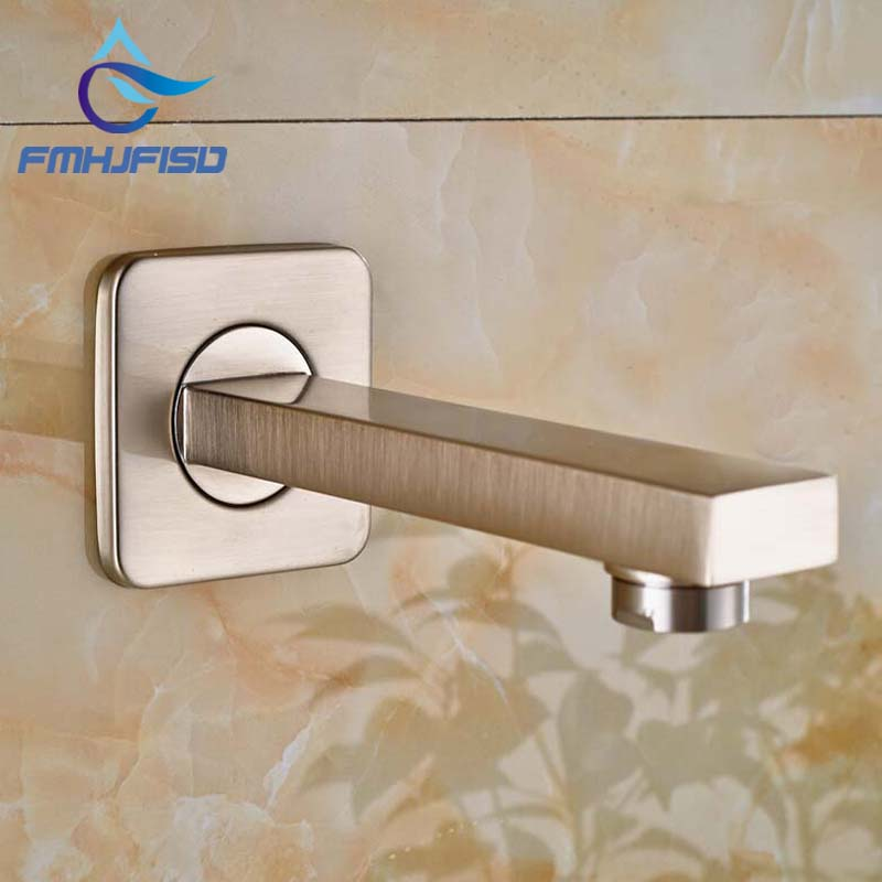 Wholesale And Retail Solid Brass Brushed Nickel Bathroom Tub Spout Wall Mounted Square Shower Spout