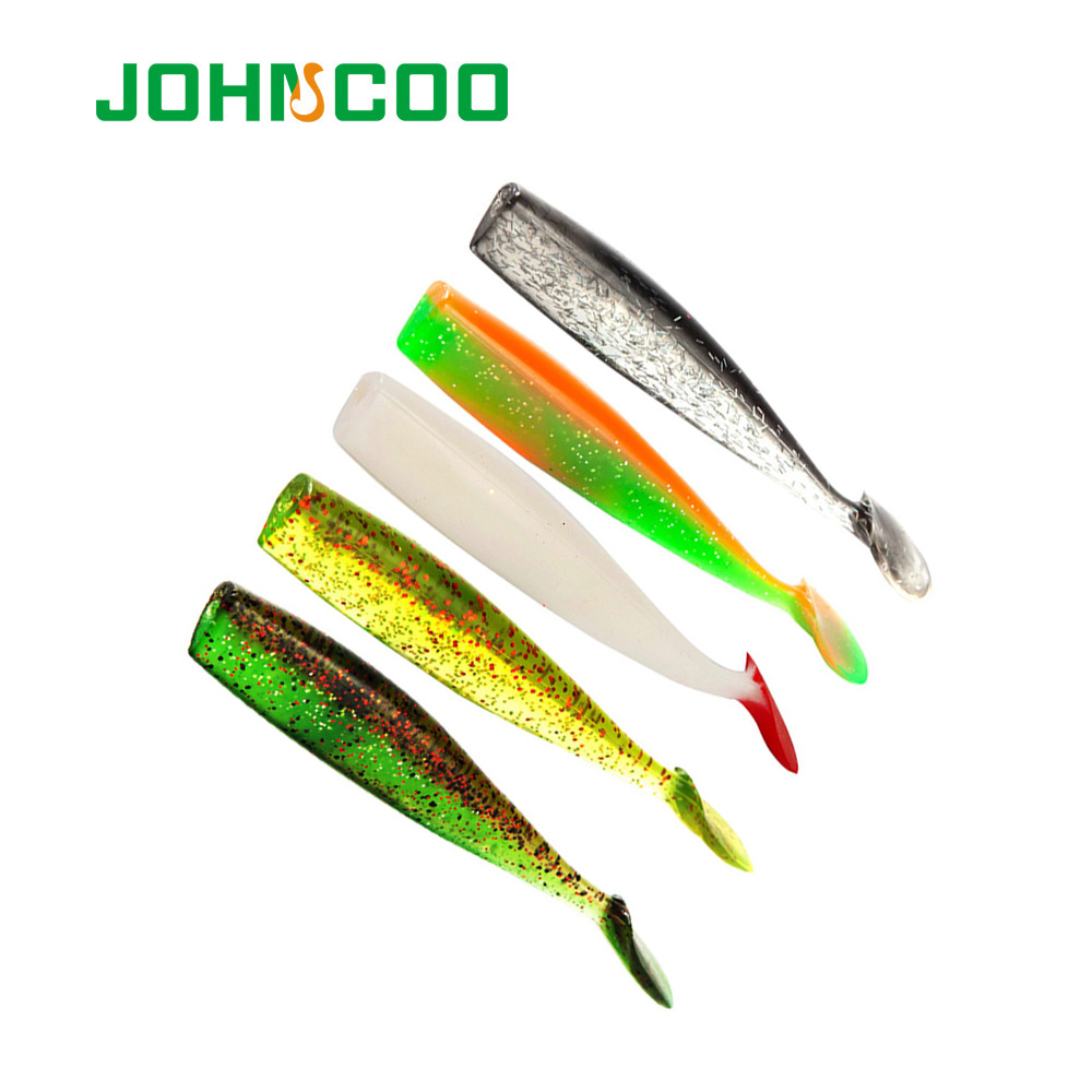 JOHNCOO 4pcs/lot Soft Fishing Wobblers 100mm 7.7g Artifical Fishing Bait Grub Lures Goods For Fishing Lure Silicone Lure