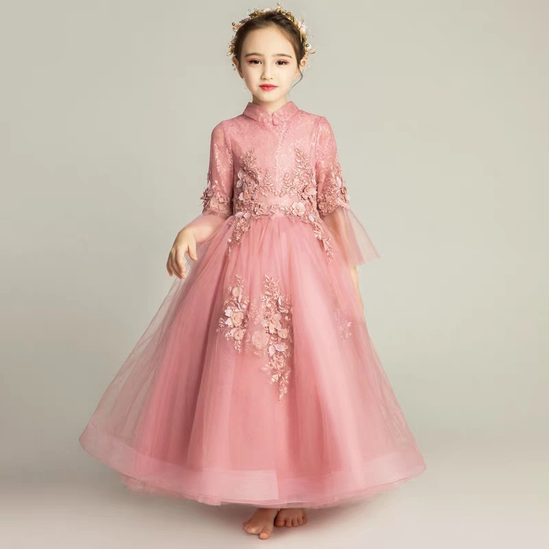 3~15years old Children Girls Elegant Lace Appliques Flowers Birthday Evening Party Princess Dress Teens Kids Host Piano Dress 3 15years children girls elegant pink white color birthday evening party princess flowers lace dress teens kids wedding dress