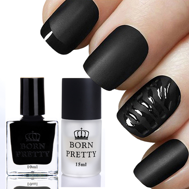 BORN PRETTY 10ml Gloss Black Nail Polish & 15ml Matte Surface Top ...