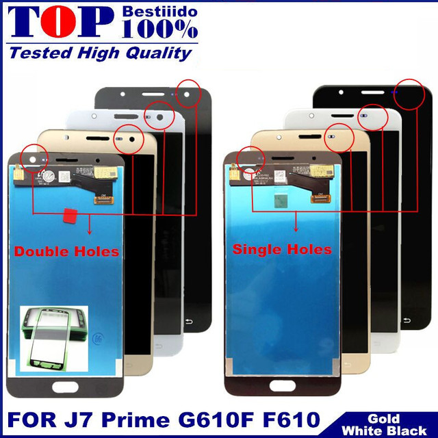 LCD Replacement full Digitizer For Samsung Galaxy J7 Prime G610 G610F On7 2016 G6100 Display Touch Screen Assembly Double Holes