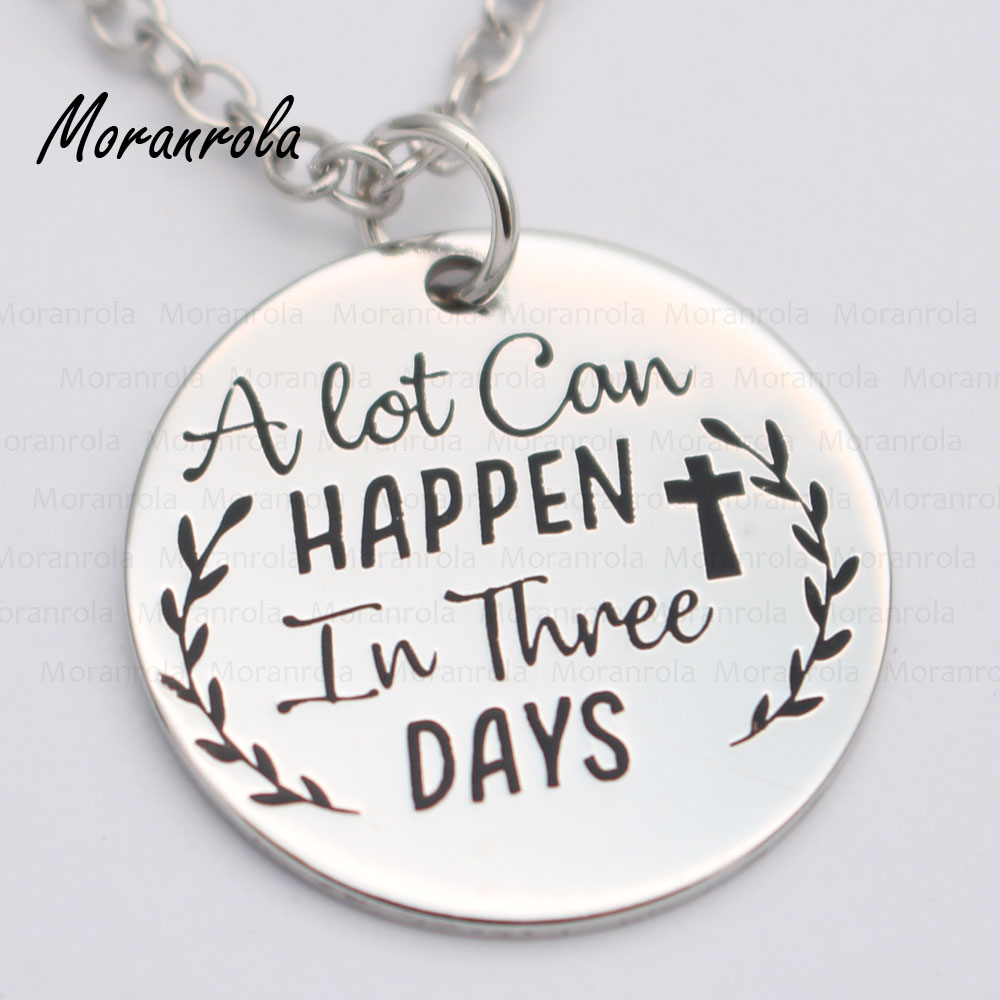 "New arried"" A lot can happen in three days"" Copper necklace Keychain,charm Hand Stamped Jewelry Bible Christian Easter Jewelry"