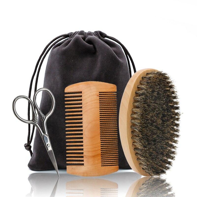 3Pcs/set Beard Brush Kit Set Boar Bristle Shaving Brush Beard Wood Comb Mustache Scissor Shaving Set Brosse Barbe Cepillo Barba