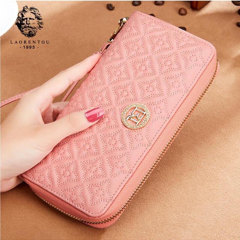 купить LAORENTOU 2018 New women leather wallets long wallets Simple fashion zipper long leather wallets purse women clutch bags по цене 3153.72 рублей