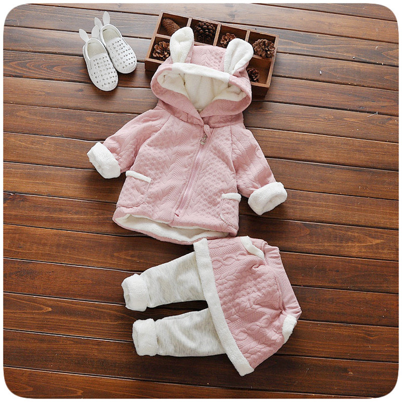 Children Baby Girl Clothing Set Fashion Toddler Girls Winter Warm Rabbit Hooded Jacket Coats + Leggings Suit Kids Clothes winter baby girl coats kids warm long thick hooded jacket for girls 2017 casual toddler girls clothes children outerwear