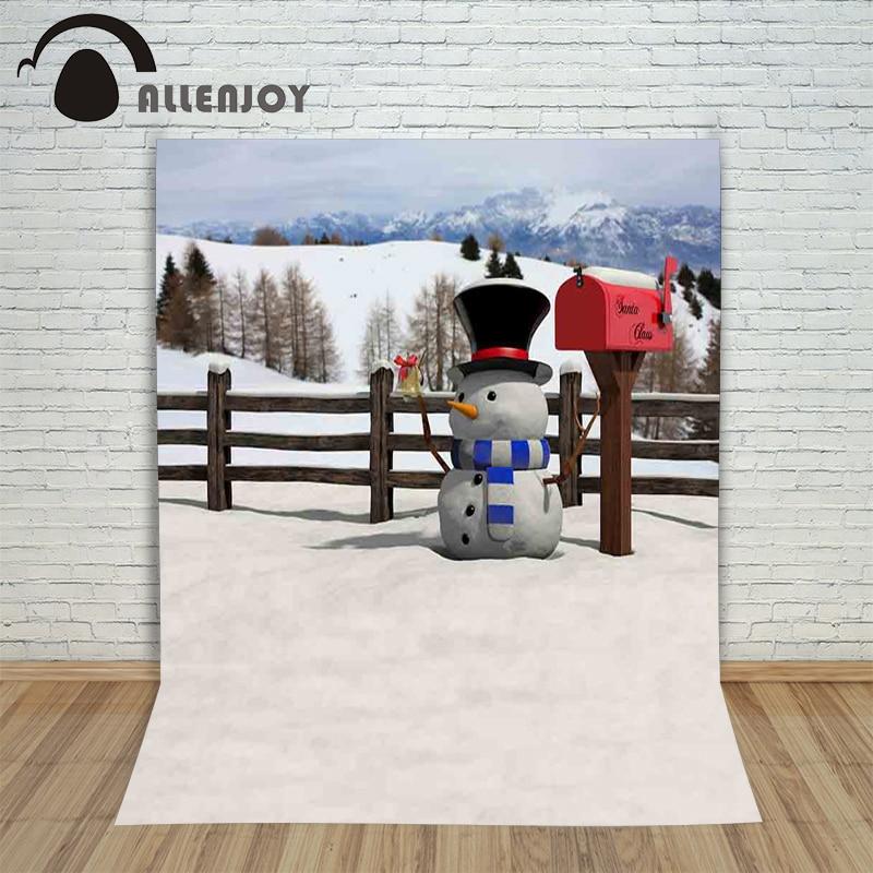Allenjoy vinyl photography backdrop Christmas snowman mailbox Snowy mountain children's background for photo shoots fabric christmas background for photos pure white snowman pine cones backdrop photography children s photo shoots customize photocall