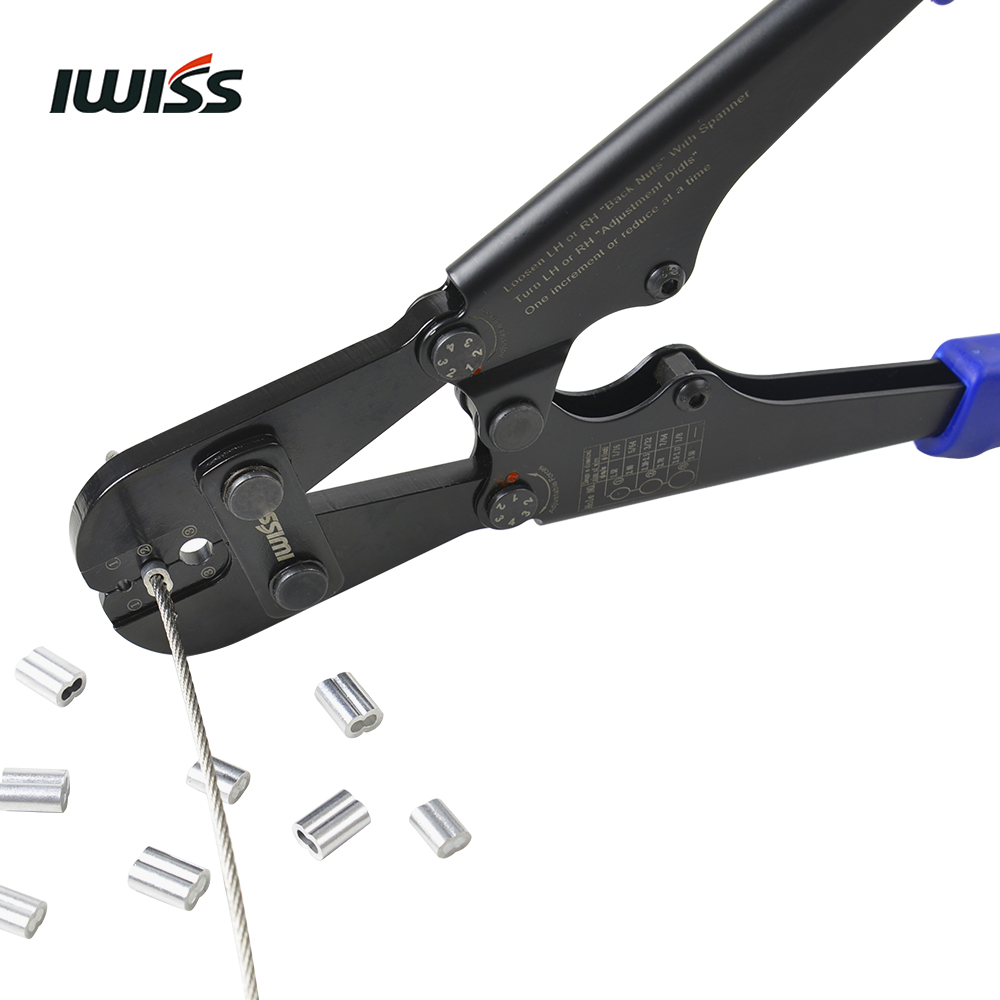 IWISS IWS 1608M Wire Rope Crimping Tool for Copper and Aluminum Oval ...