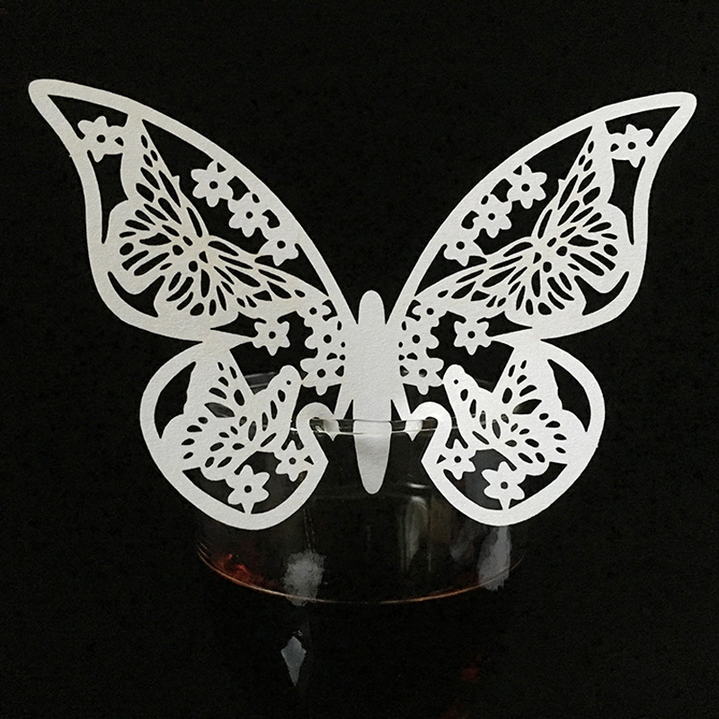 50pcs Butterfly laser cut wine glass card place card laser cut paper cup escort card for ...
