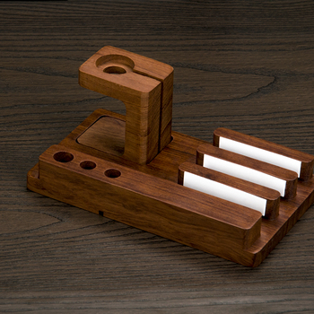 OKCore Bamboo Wooden Mobile Phone Holder Stand for iPhone iPad  Rosewood Grain Stands with Watch Bracket for Apple for Watch plywood